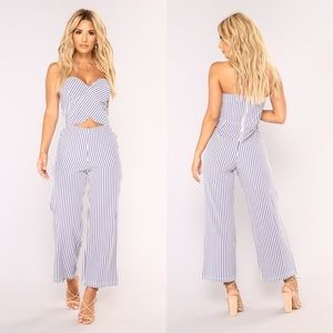 Fashion Nova Harbor Island Culotte Jumpsuit stripe